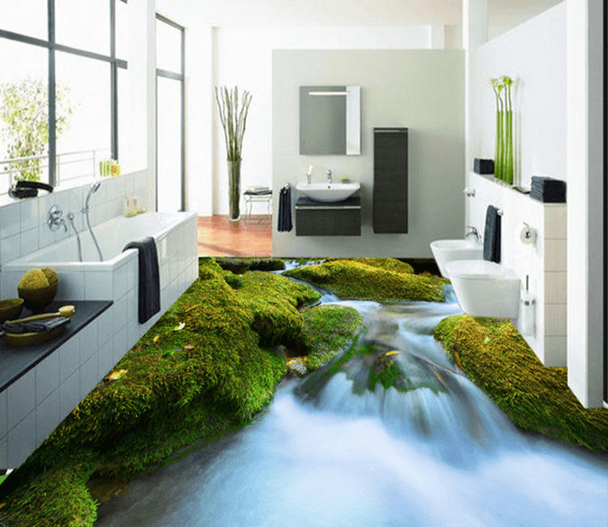 3D River Moss 223 Floor Mural Wallpaper AJ Wallpaper 2
