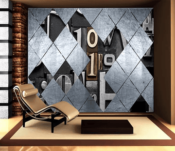 3D Iron Sheets Engraved Letters 101 Wallpaper AJ Wallpaper 2