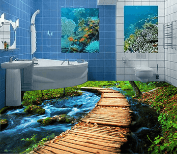 3D Curved Wooden Bridge 170 Floor Mural