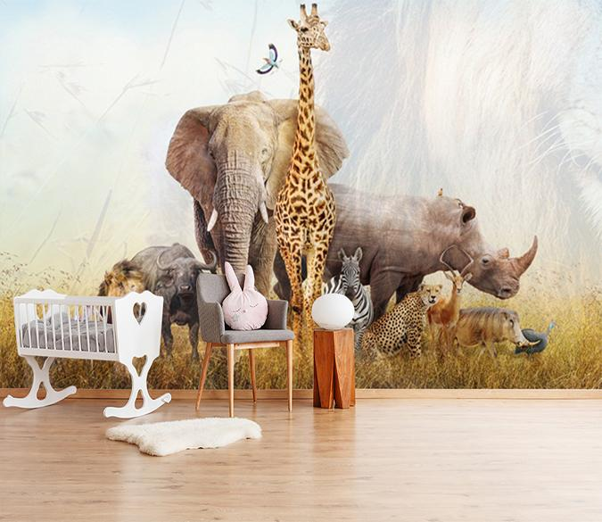 3D Giraffe Elephant 219 Wallpaper AJ Wallpaper