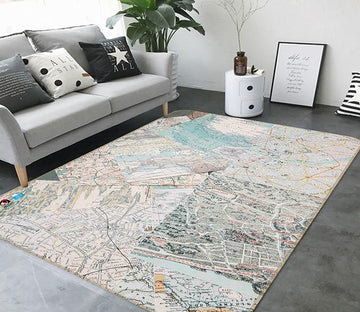 3D Map Paper 202 Non Slip Rug Mat Mat AJ Creativity Home