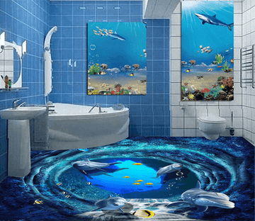 3D Deep Sea Dolphins 050 Floor Mural Wallpaper AJ Wallpaper 2