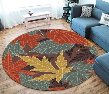 3D Maple Leaf Grain 263 Round Non Slip Rug Mat Mat AJ Creativity Home