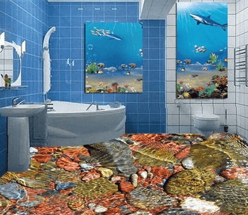 3D Water Stones 015 Floor Mural Wallpaper AJ Wallpaper 2