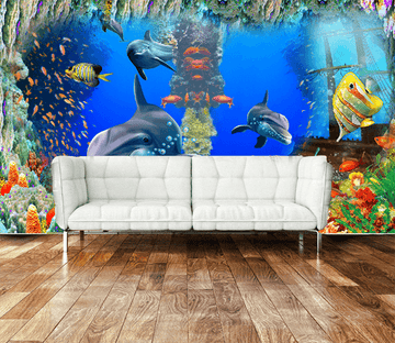 3D Dolphin Coral 553 Wallpaper AJ Wallpaper