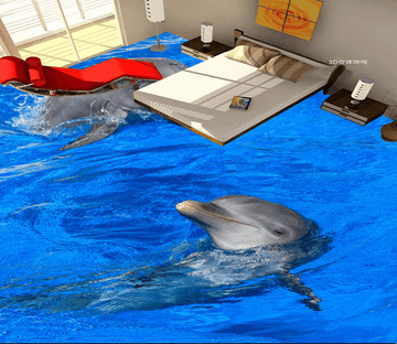 3D Leisurely Dolphins 028 Floor Mural Wallpaper AJ Wallpaper 2