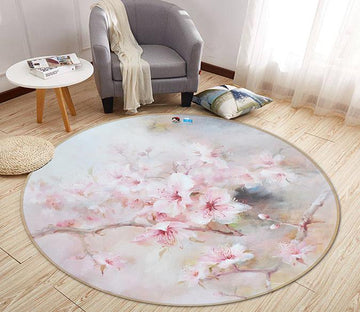 3D Beautiful Peach 082 Round Non Slip Rug Mat