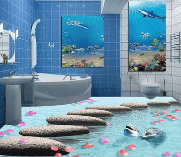 3D Petal Rain 047 Floor Mural Wallpaper AJ Wallpaper 2