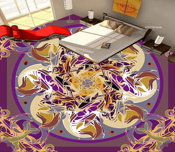 3D Flower Line 026 Floor Mural Wallpaper AJ Wallpaper 2