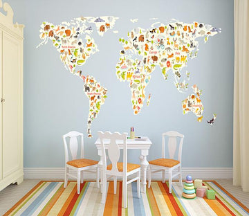 3D Animal Map 001 Wall Stickers Wallpaper AJ Wallpaper