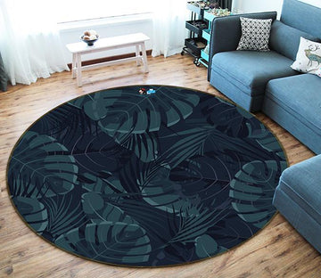 3D Black Leaves 190 Round Non Slip Rug Mat