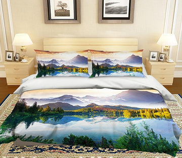 3D Mountain Tree Lake 250 Bed Pillowcases Quilt