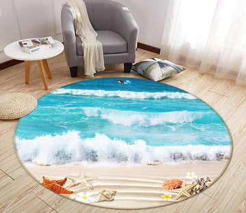 3D Beach Starfish 058 Round Non Slip Rug Mat Mat AJ Creativity Home