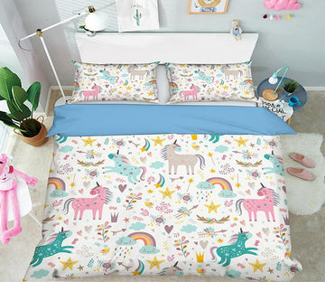 3D Rainbow Horse 072 Bed Pillowcases Quilt