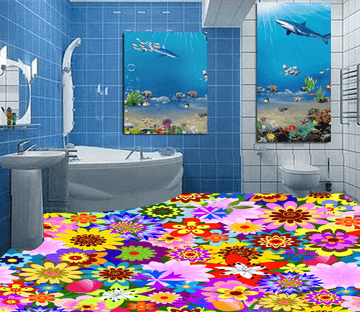 3D Bright Flowers 036 Floor Mural Wallpaper AJ Wallpaper 2