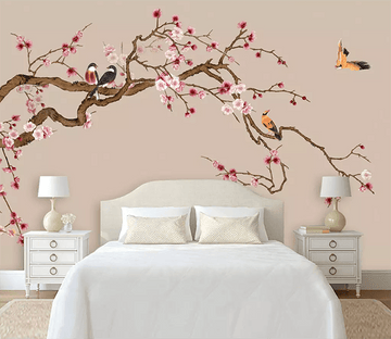 3D Plum Blossom Hand Drawn Bird 1558 Wallpaper AJ Wallpaper 2
