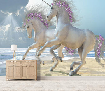 3D Running Unicorn Flower 131 Wallpaper AJ Wallpaper