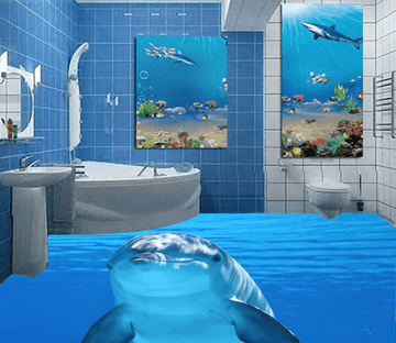 3D Smart Dolphins 034 Floor Mural Wallpaper AJ Wallpaper 2