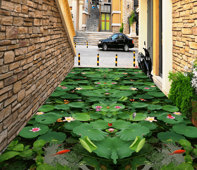 3D Big Lotus Leaf 335 Floor Mural Wallpaper AJ Wallpaper 2