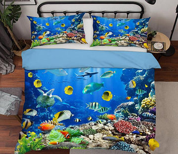 3D Coral Fish School 156 Bed Pillowcases Quilt