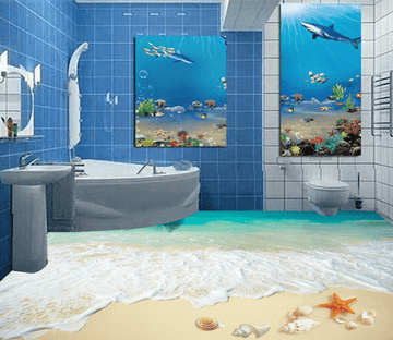 3D Sea Beach 041 Floor Mural Wallpaper AJ Wallpaper 2