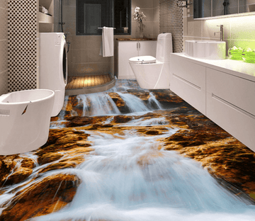 3D Waterfall 026 Floor Mural Wallpaper AJ Wallpaper 2