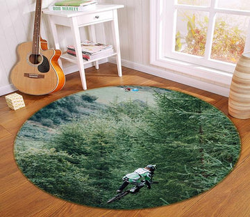 3D Woods Bike 133 Round Non Slip Rug Mat Mat AJ Creativity Home