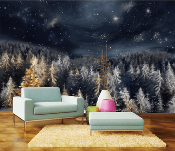 3D Starry Sky Forest 1001 Wallpaper AJ Wallpaper 2