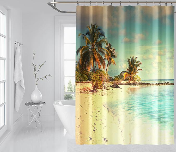 3D Beach Footprints 080 Shower Curtain 3D Shower Curtain AJ Creativity Home