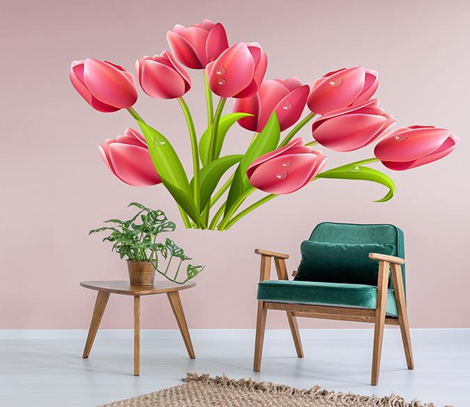 3D Flower Dew 049 Wall Stickers Wallpaper AJ Wallpaper