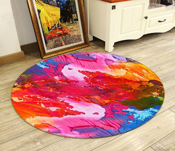 3D Abstract Oil Painting 050 Round Non Slip Rug Mat