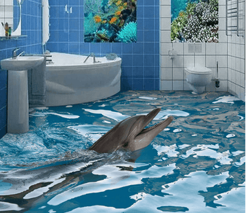 3D Dolphin Feeding 182 Floor Mural Wallpaper AJ Wallpaper 2