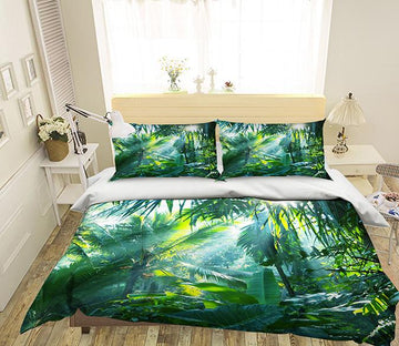 3D Sunshine Rainforest 175 Bed Pillowcases Quilt