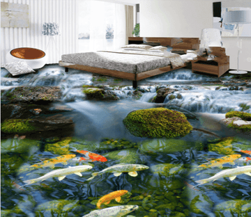 3D Goldfish 027 Floor Mural Wallpaper AJ Wallpaper 2
