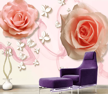 3D Pink Big Rose 1467 Wallpaper AJ Wallpaper 2