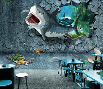 3D Shark Breaking Wall 432 Wallpaper AJ Wallpaper 2
