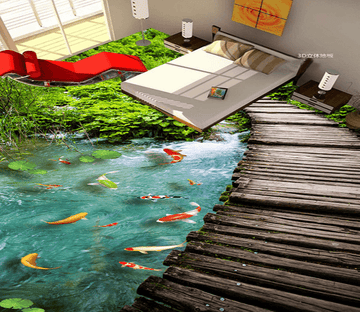 3D Fish Pond 019 Floor Mural Wallpaper AJ Wallpaper 2