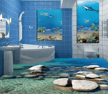 3D Seaside Stone 016 Floor Mural Wallpaper AJ Wallpaper 2