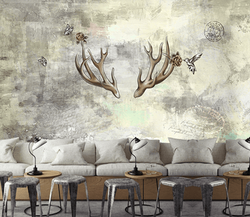3D Antlers Birds 149 Wallpaper AJ Wallpaper