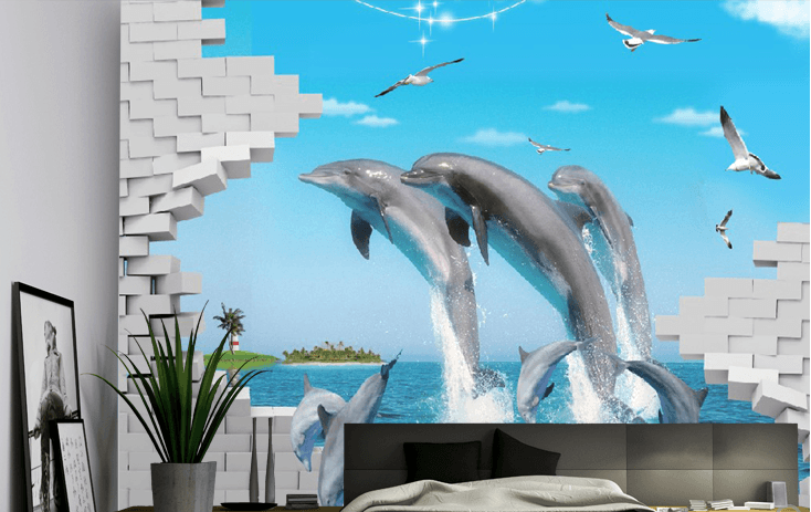 Jumping Dolphins Wallpaper AJ Wallpaper