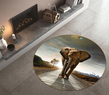 3D Backlight Elephant 047 Round Non Slip Rug Mat