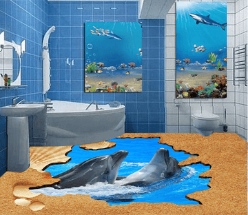 3D Dolphin Leisurely 009 Floor Mural Wallpaper AJ Wallpaper 2