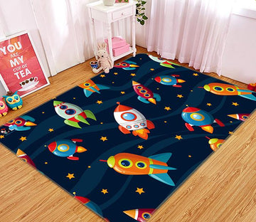 3D Cartoon Rocket 085 Non Slip Rug Mat Mat AJ Creativity Home