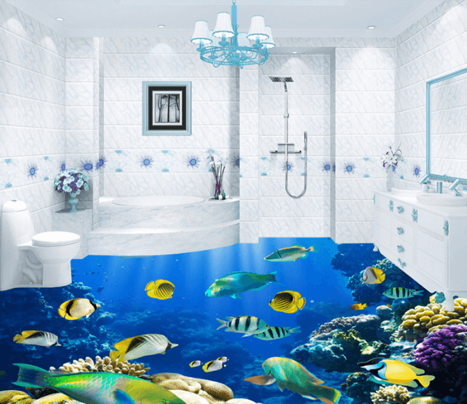 3D Deep Sea Fish 103 Floor Mural Wallpaper AJ Wallpaper 2