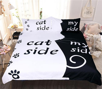 3D Background Cat 122 Bed Pillowcases Quilt