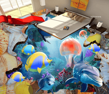 3D Pink Jellyfish 023 Floor Mural Wallpaper AJ Wallpaper 2