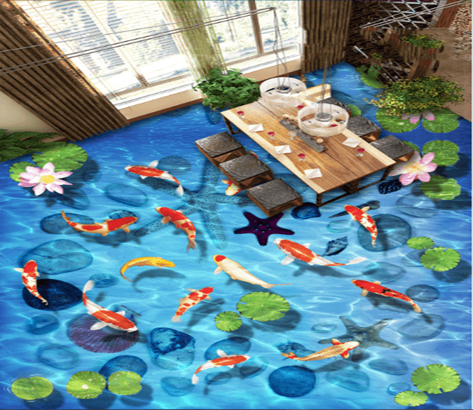 3D Goldfish Foraging 028 Floor Mural Wallpaper AJ Wallpaper 2