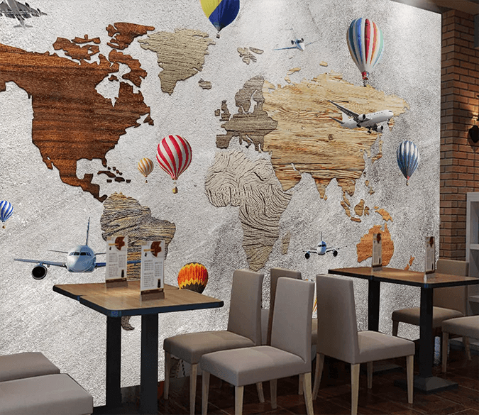 3D Wooden Map 187 Wallpaper AJ Wallpaper 2