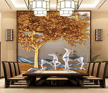 3D Golden Tree Deer 520