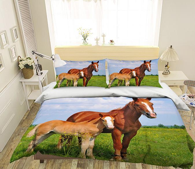 3D Grassland Horse 153 Bed Pillowcases Quilt Wallpaper AJ Wallpaper
